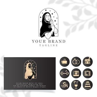 Simple beautiful woman veil girl hijab logo editable template