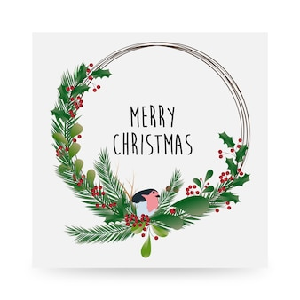 Simple beautifully designed merry christmas floral artwork