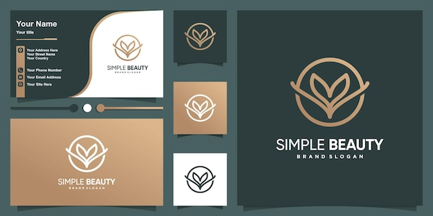 Simple beauty logo flower with line art style