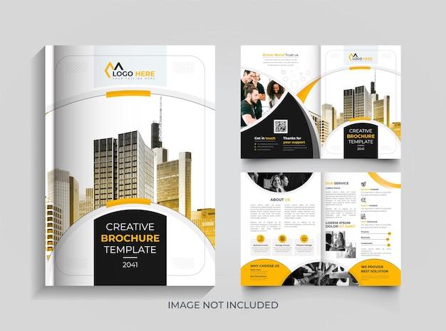 Simple bifold minimal corporate brochure design template