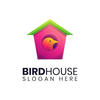 シンプルな鳥の家のカラフルなロゴのテンプレート