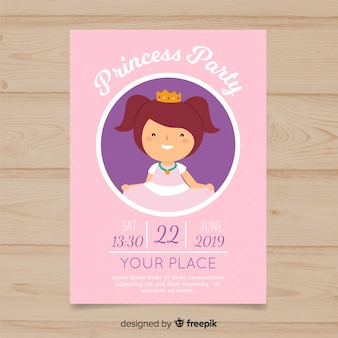 Simple birthday princess invitation