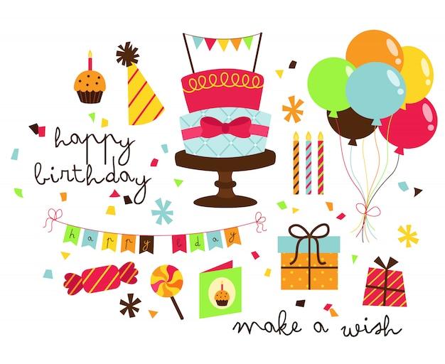 Simple birthday vector set