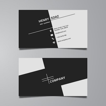 Simple black and white business card template