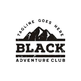 シンプルなブラックボールドマウンテンアドベンチャーアウトドアヴィンテージレトロヒップスターロゴデザインのインスピレーション