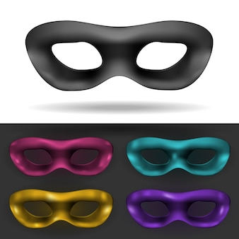 Simple black and colored carnival masks isolated