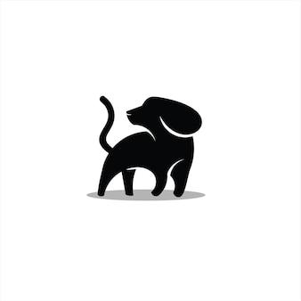 シンプルな黒犬のロゴシルエット動物