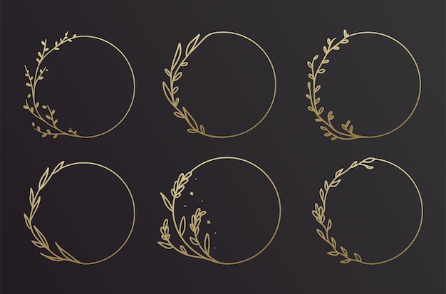 Simple black and gold hand drawn floral frame design set