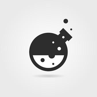 Простой черный значок лаборатории с тенью. понятие творчества, синтеза материалов, процесса, пробирного, токсичного, промышленности. изолированные на сером фоне. плоский стиль тенденции современной лаборатории дизайн логотипа векторные иллюстрации