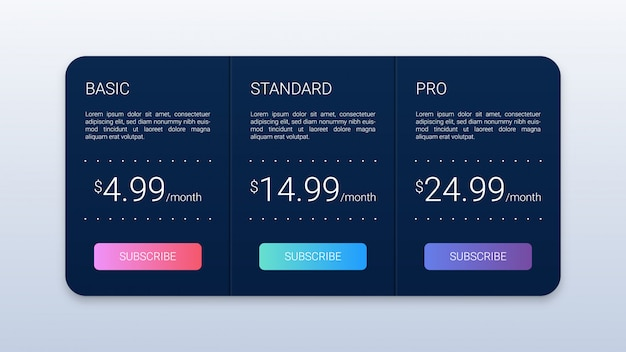 Simple black pricing plans template