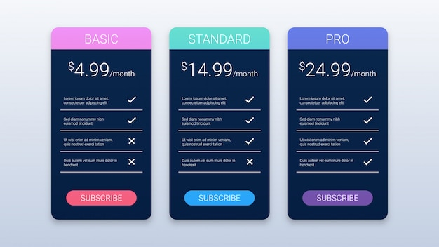 Simple black pricing table template