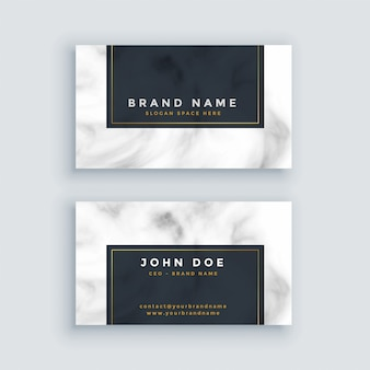 Simple black and white business card with marble texture