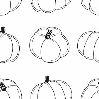 Simple black and white seamless pattern with pumpkins in doodle style illustration for halloween