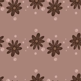 Простое цветение бесшовные модели с коричневым принтом декора цветов ромашки. бледно-розовый фон. графический дизайн оберточной бумаги и текстуры ткани. векторные иллюстрации.