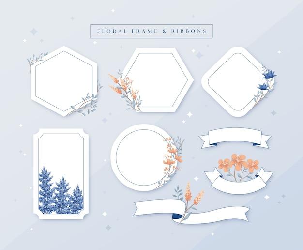 シンプルなブルーとオレンジの花柄のフレームリボン