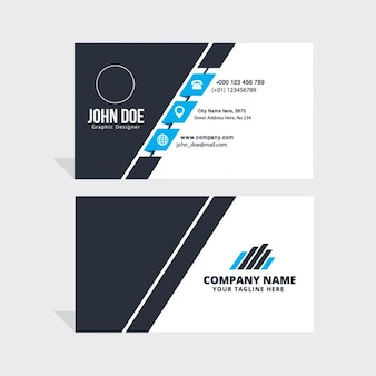 Simple blue, black and white business card