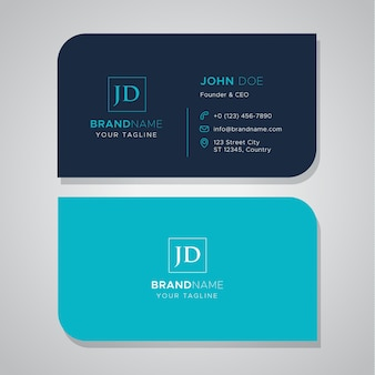 Simple blue business card with die cut