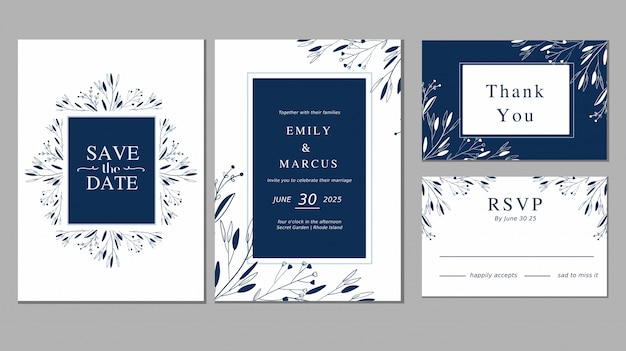 Simple blue ornament plant floral save the date wedding invitation card collection