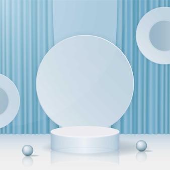 シンプルな青い表彰台デザインプレミアムベクトル