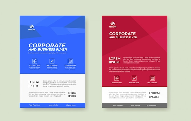 Simple blue and red flyer poster template set