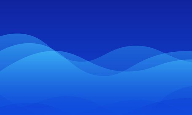 シンプルな青い波状の背景。チラシのベース部分。