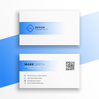 Simple blue and white business card design