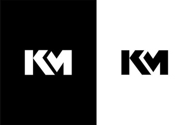 Simple bold initial km vector logogram