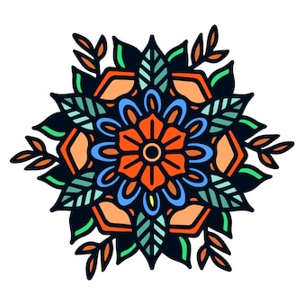 Simple bold mandala old school tattoo illustration