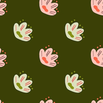 Простой ботанический бесшовные модели с зелеными и розовыми наивными цветами орнаментом