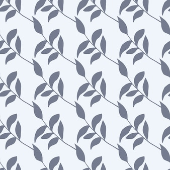 빈티지와 간단한 식물원 완벽 한 패턴입니다. 격리 된 단풍 흰색 배경에 파란색 장식으로 인쇄합니다.