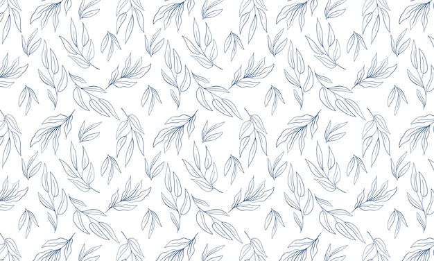 Simple botanical leaf minimalist background. hand drawn line art  wallpaper. repeat seamless pattern.