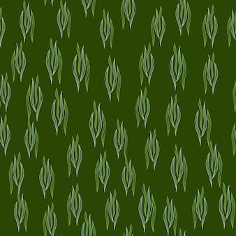 Простой ботанический контур формирует бесшовный узор на зеленом фоне. природа обои. дизайн для ткани, текстильный принт, упаковка, обложка. векторная иллюстрация.