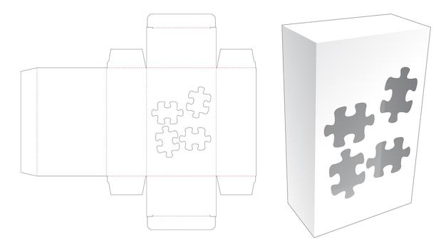 ジグソーピースの形をしたウィンドウダイカットテンプレートのシンプルなボックス