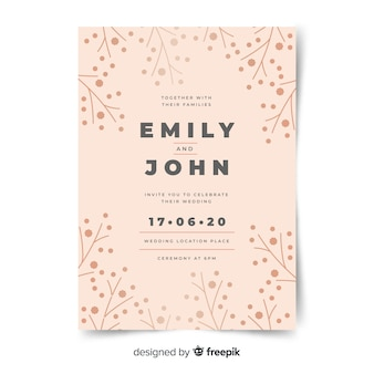 Simple branches wedding invitation template