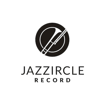 Simple brass instrument for jazz music logo design