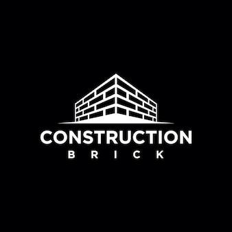 Элемент шаблона логотипа строительства простой кирпичной стены
