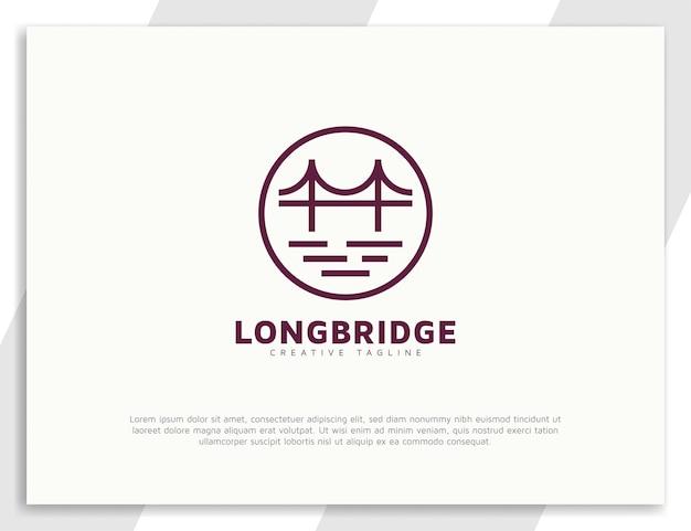 Простой дизайн логотипа моста с кругом