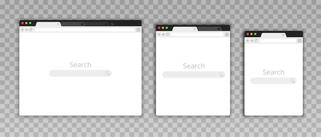 Simple browser window in a flat style. design a simple blank web page. search in internet