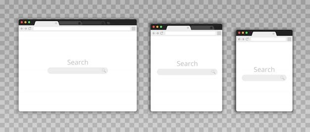 플랫 스타일의 간단한 브라우저 창. 간단한 빈 웹 페이지를 디자인하십시오. 인터넷에서 검색