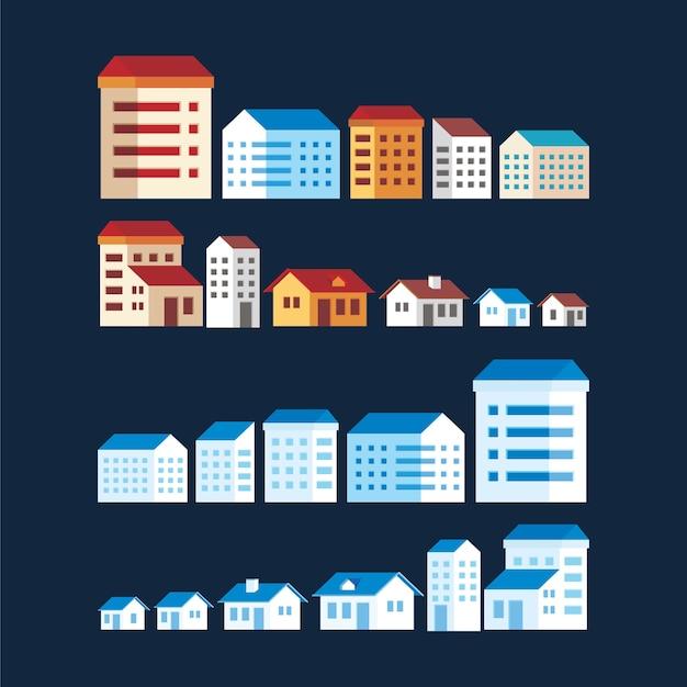 Иллюстрация элементов простых зданий с несколькими типами и цветами