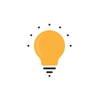 점이 있는 간단한 전구 아이콘입니다. 에코, 생각, 레이, 천재, 할로겐, 지능, ui, 창의성의 개념. 전구 아이콘 흰색 배경에 고립입니다. 평면 스타일 현대 로고 디자인 벡터 일러스트 레이 션