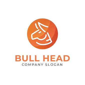 Simple bull head logo with gradient background in monoline style