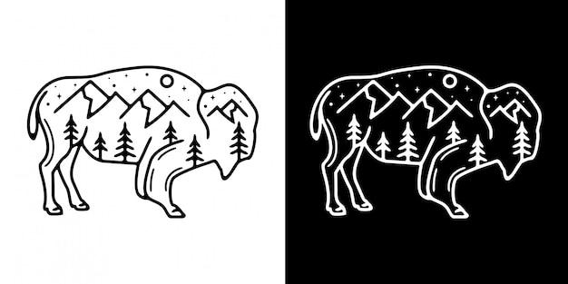 Simple bull with montain monoline design