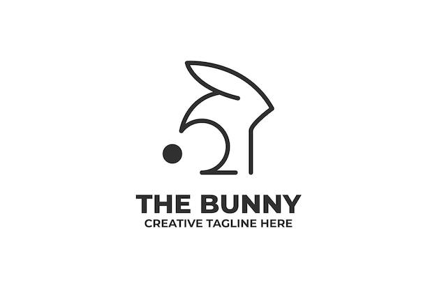 Простой кролик силуэт монолинии логотип