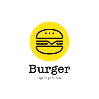 Simple burger logo with line style icon