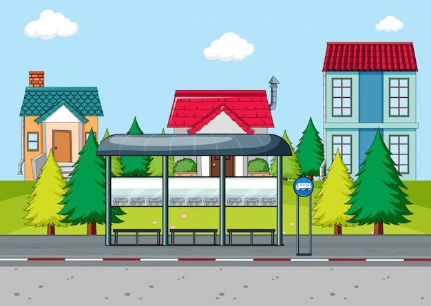A simple bus stop scene