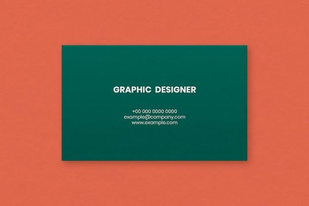 Простой дизайн визитки в зеленых тонах