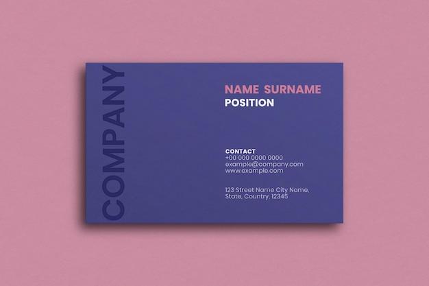 Простой дизайн визитной карточки в фиолетовых тонах