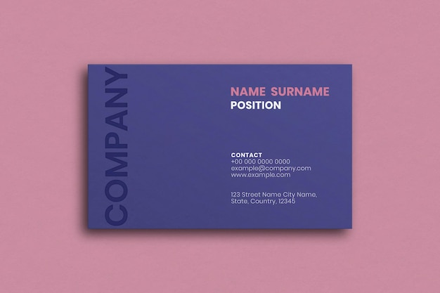 Simple business card design in purple tone