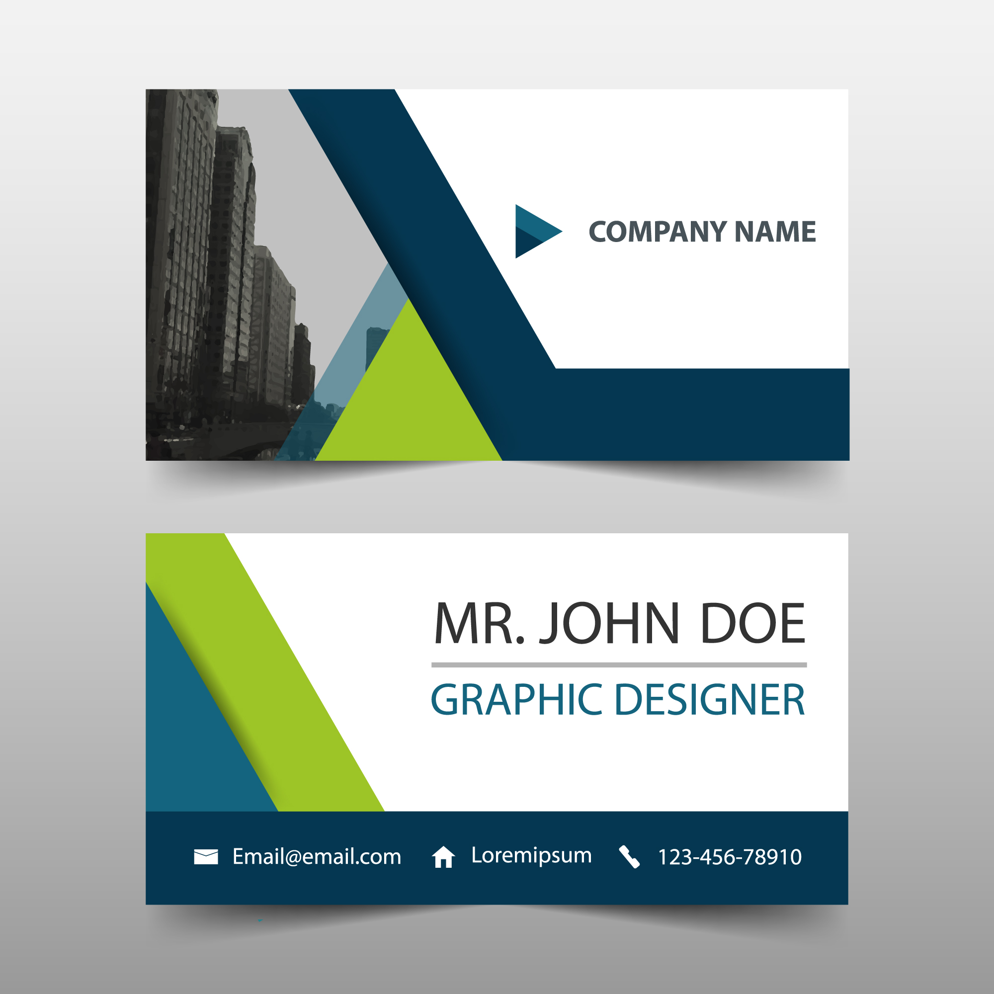 Simple business card, green and blue color